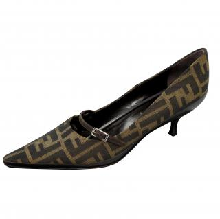 Fendi ladies brown and black logo sling back