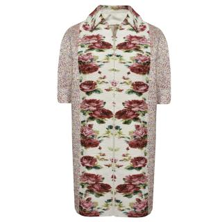 Antonio Marras Cocoon Coat With Floral Plisse Front