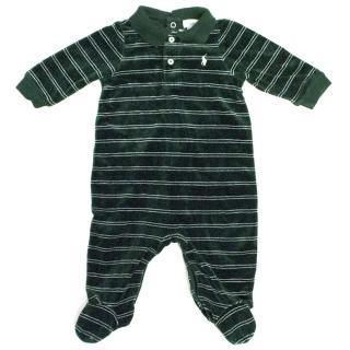 Ralph Lauren Baby Green Velvet Onesie