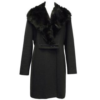 Emporio Armani Dark Grey Coat with Fur Collar