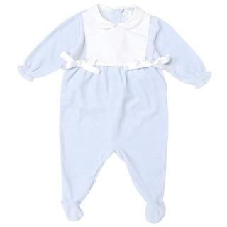 Le Petit Monde Baby Blue and White Onesie