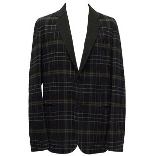 Louis Vuitton Navy Checked Blazer Jacket