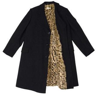 Dries Van Noten Black Coat with Fur Lining