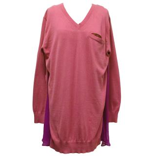 Sacai Luck Pink Knit Top with Contrasting Sheer Back