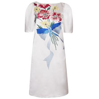 Antonio Marras Satin Dress With Bouquet Embroidery