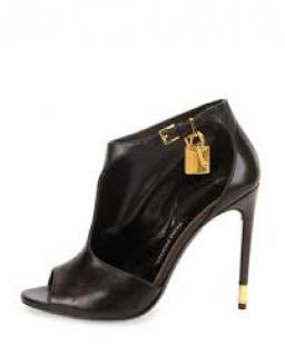 Tom Ford Brown  Open Toe Ankle Lock Cut Out Ankle Boots