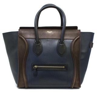 Celine Mini Luggage Tote Bag in Navy and Brown