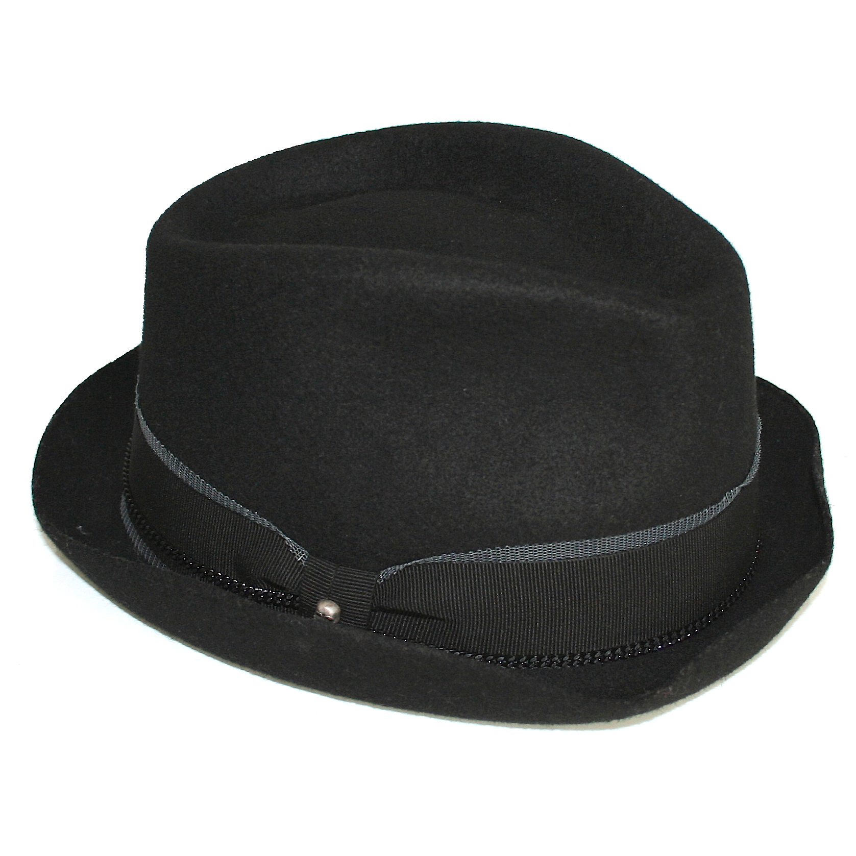 0ea62a07556 Zadig Voltaire Amy Black Wool Trilby Hat Small