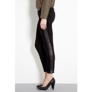 Hudson Leeloo super Leather Strip Skinny crop Jeans