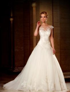Unworn Modeca  Handmade Ivory Tulle, Lace & Bead Petite Wedding Dress Size 6-8