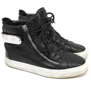 Giuseppe Zanotti Black Leather High Top Trainers