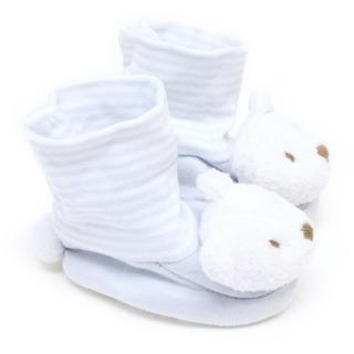 The White Company Baby Blue & White Bear Shoes