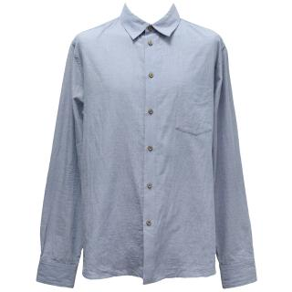APC Blue Cotton Blend Button Down Shirt