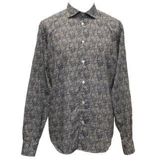 Hartford Off-White and Navy Patterned Shirt