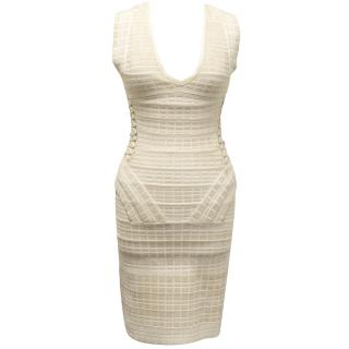 Herve Ledge Beige Dress with String Detail