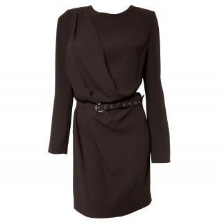 Patrizia Pepe Brown Belted Crepe Dress