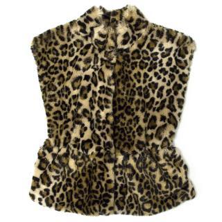 Mayoral of Outwear Girl's Faux Leopard Fur Vest Jacket