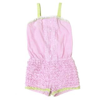 Kate Mack Pink & White Girl's Playsuit