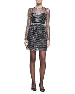 Marc Jacobs sequin dress black silver