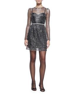 Marc Jacobs sequin dress black silver