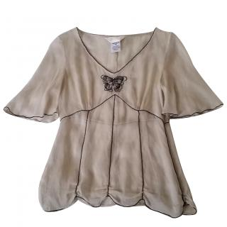 Ronit Zilkha Cream Silk Top