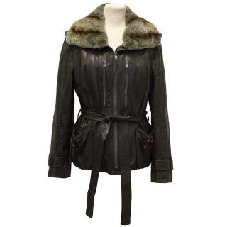 Marc Cain Brown Leather Jacket with Rabbit Collar