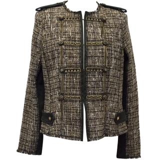 Pinko Brown and Gold Metallic Weave Jacket