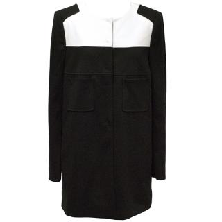 Luisa Cerano Black and White Button Up Coat