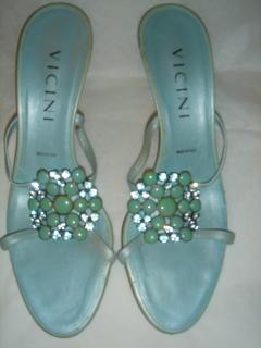 Vicini blue jeweled mules