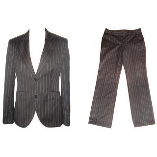 Massimo Dutti black pinstripe trouser suit 14/10
