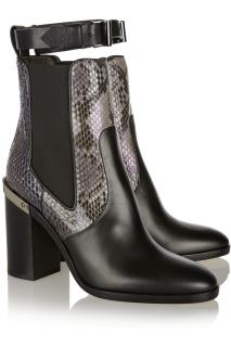 Reed Krakoff Python-trimmed leather Chelsea boots