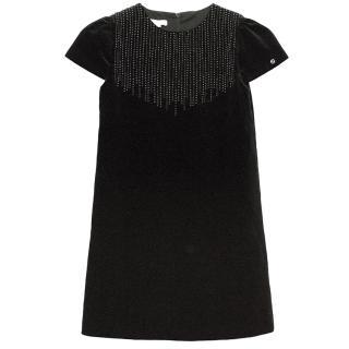 Gucci Kids Black Beaded Velvet Dress