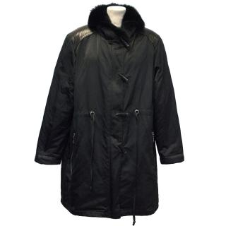 Georges Rech Black Jacket with Fur Collar and Lining
