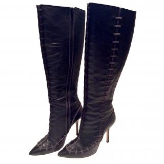 Oscar De La Renta Black Knee High Boots