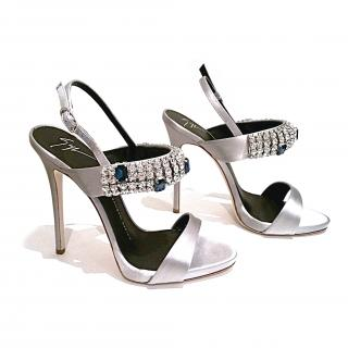 Giuseppe Zanotti Carine Heeled Sandals Silver with Embellishments