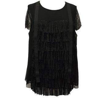 Twin Set by Simona Barbieri Black Beaded Fringe Top