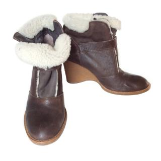 Vanessa Bruno brown sheep fur lined wedge low boots