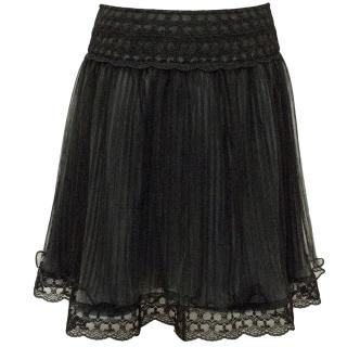 Alice+Olivia Black Lace Skirt