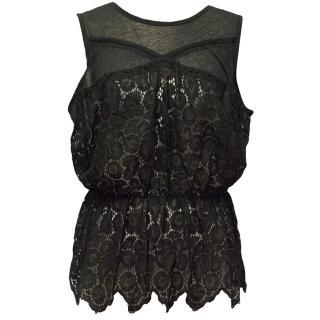 Nina Ricci Black Sheer Lace Top