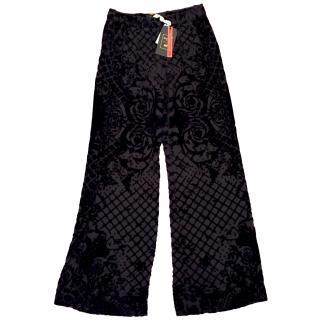 Balmain x H&M Black Silk Velvet Trousers