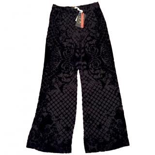 Balmain x H&M Black Silk Velvet Trousers
