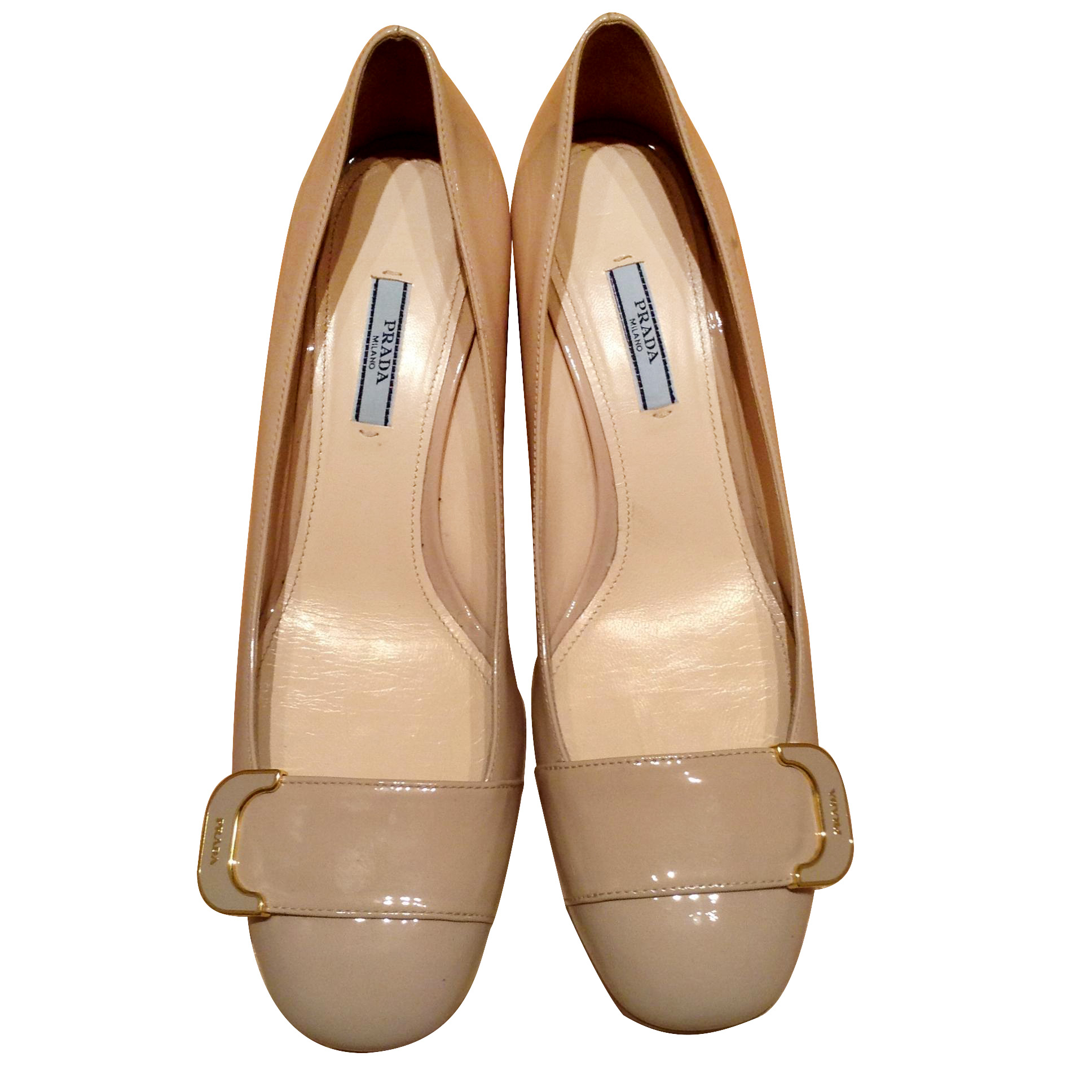 Prada Beige Square Block Heels Shoes  5c6e8222f