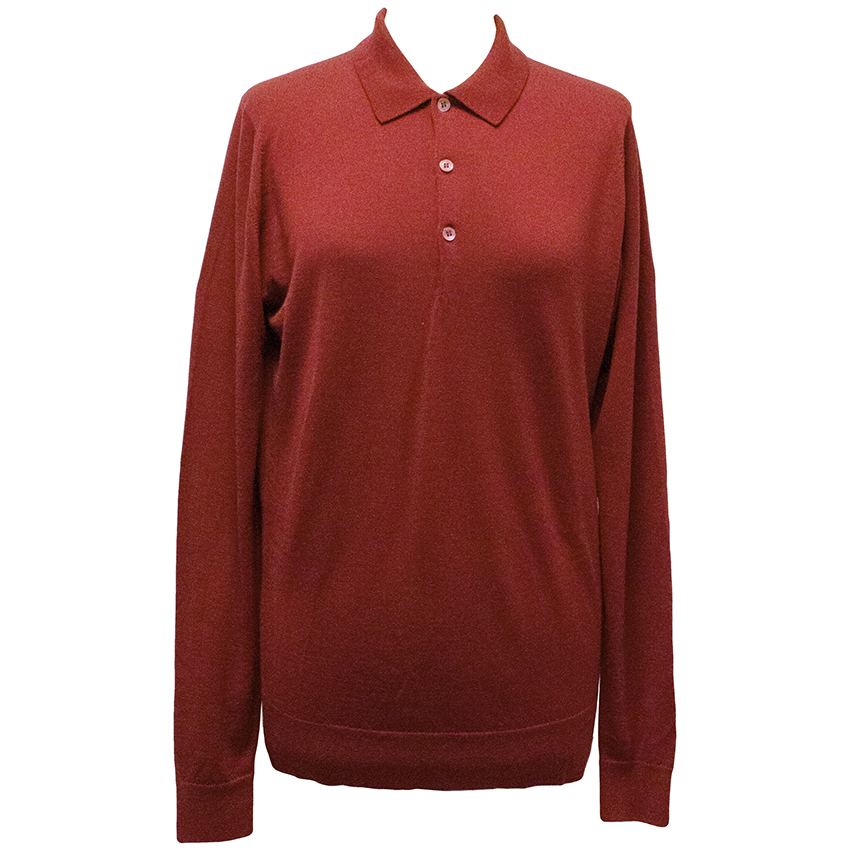 John Smedley Red Wool Long-Sleeved Top
