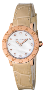 BVLGARI Automatic, 18k Rose Gold, Dial with 12 diamond hour-makers