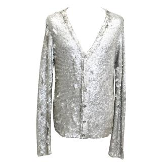 Burberry Silver Sequinned Cardigan