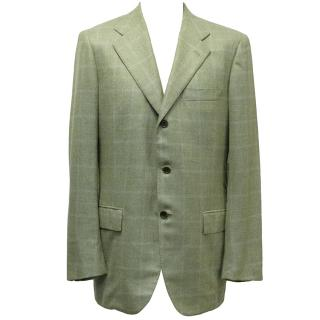 Kiton Green Cashmere Checked Blazer