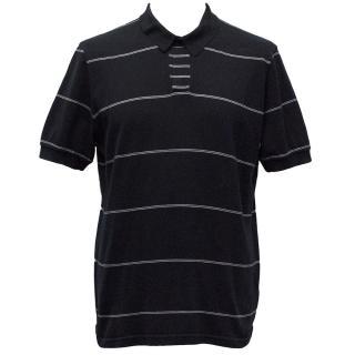 Jil Sander Navy Blue with White Stripes Polo T-Shirt
