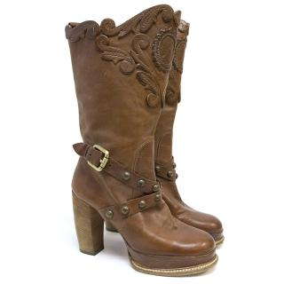 Anna Sui Brown Western Style Distressed Leather Boots