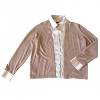 Giorgio Armani Black Label taupe cashmere cardigan+ silk shirt