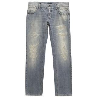 Dolce & Gabbana Light Wash Distressed Denim Jeans